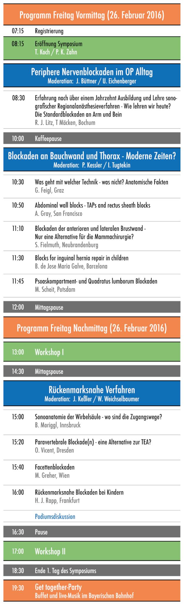 Programm Freitag 26. Februar 2016 USRA Symposium