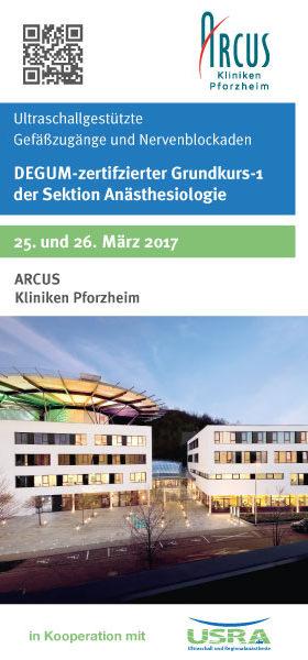 Zweitägiger Grundkurs Ultraschall in der Anästhesie an den Arcus Kliniken Pforzheim